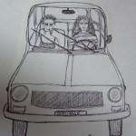 Caricatura 2: Tina e Cristina sull'R4